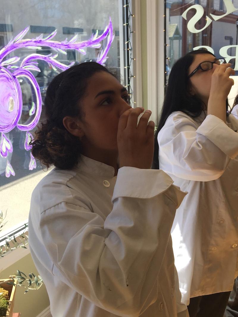 students tasting evoo